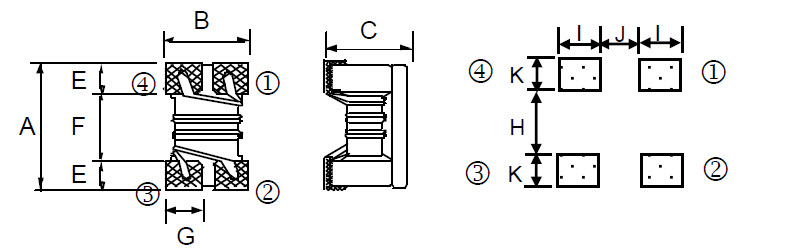 Chip Common Mode Choke - CM series Dimensions