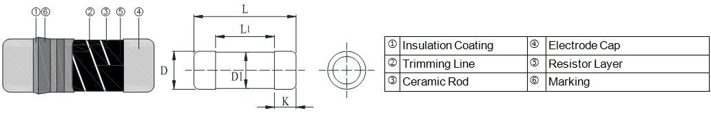 Thick Film Low TC Current Sensing Resistor - CS Series Construction