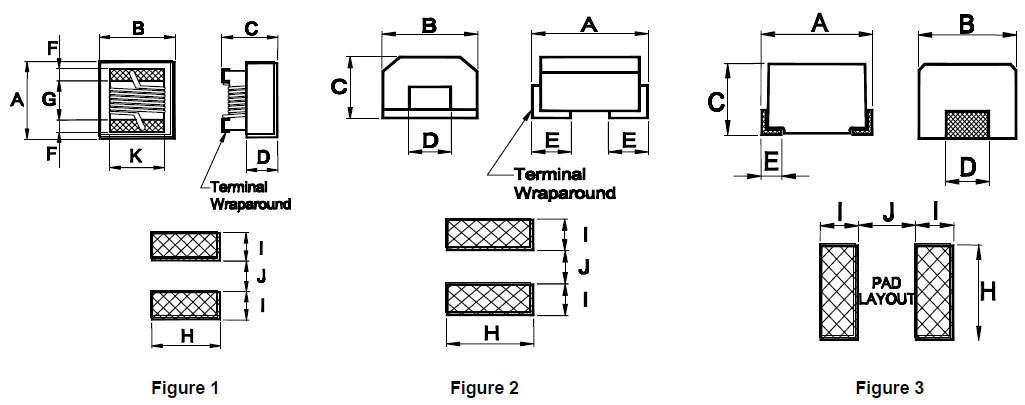Ferrite Wire-wound Inductors (NL) Dimensions